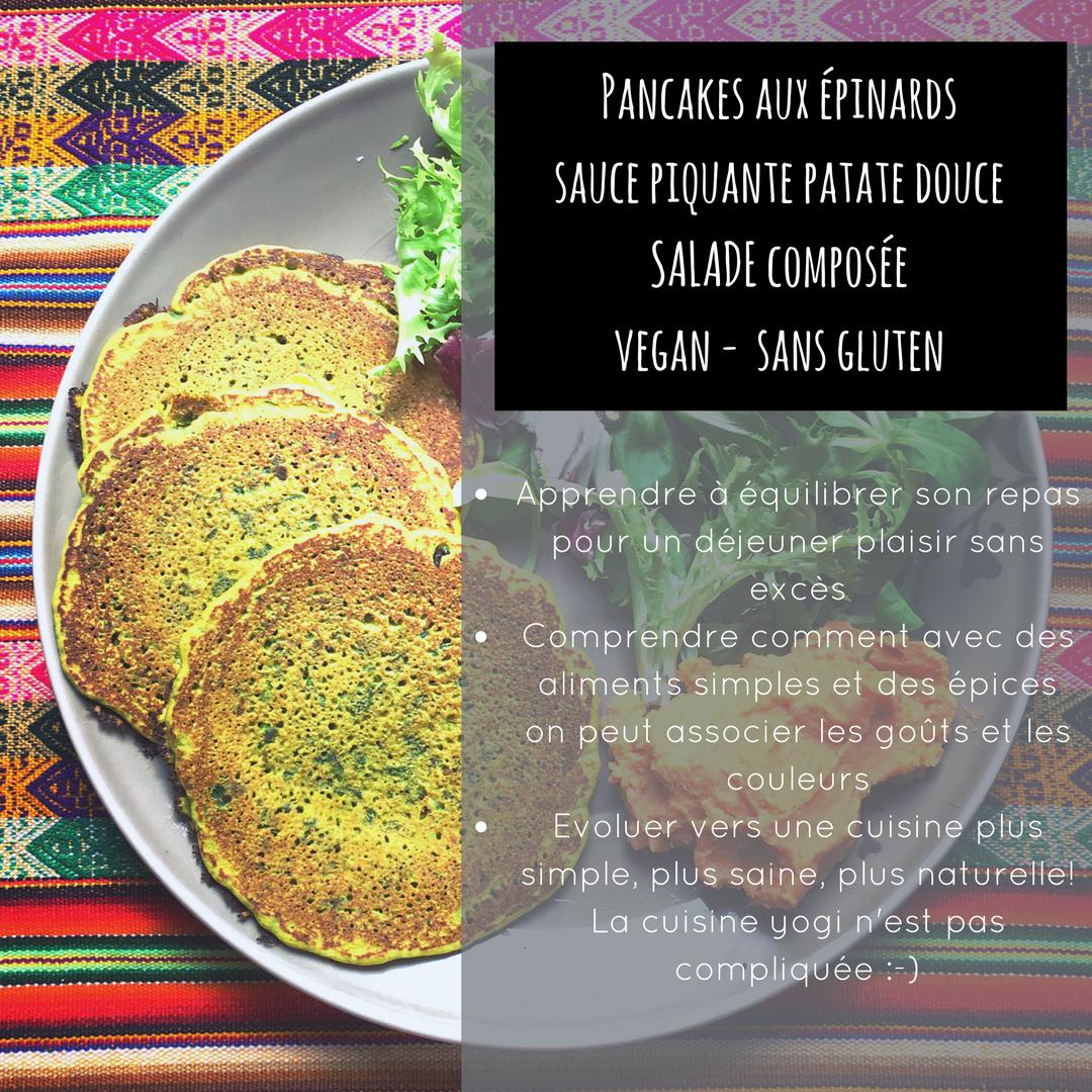 pancakes salées aux épinards, farine de pois chiche, sauce piquante patate douce vegan sans gluten