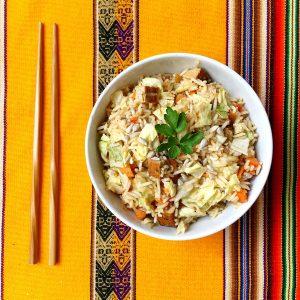 riz aux légumes tofu mariné vegan sans gluten