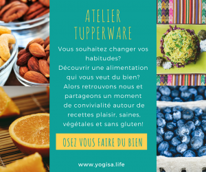 Ateliers tupperware vegan sans gluten yoga food