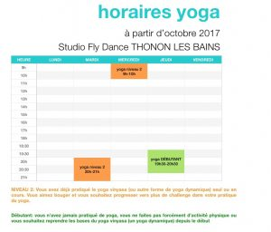 horaires yoga studio fly dance thonon