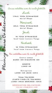 PLanning cours co yoga décembre