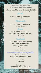 Planning de la semaine